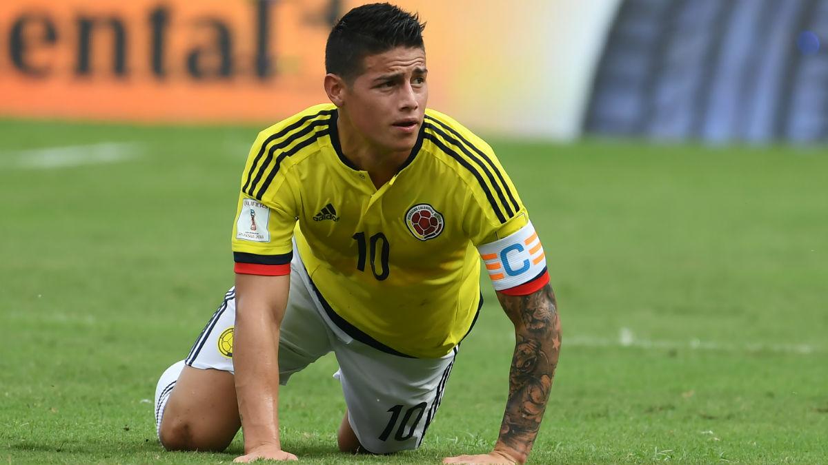 James, durante el encuentro entre Colombia y Brasil. (AFP)