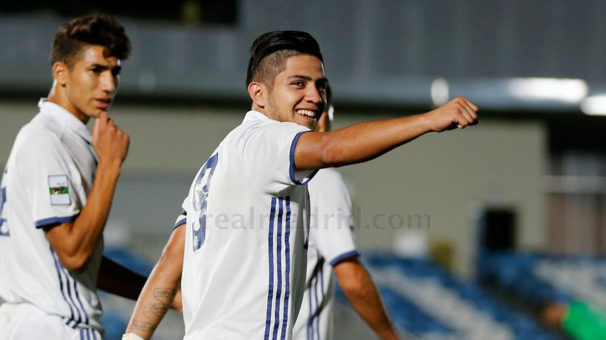 Sergio Díaz celebra un gol. (Realmadrid.com)