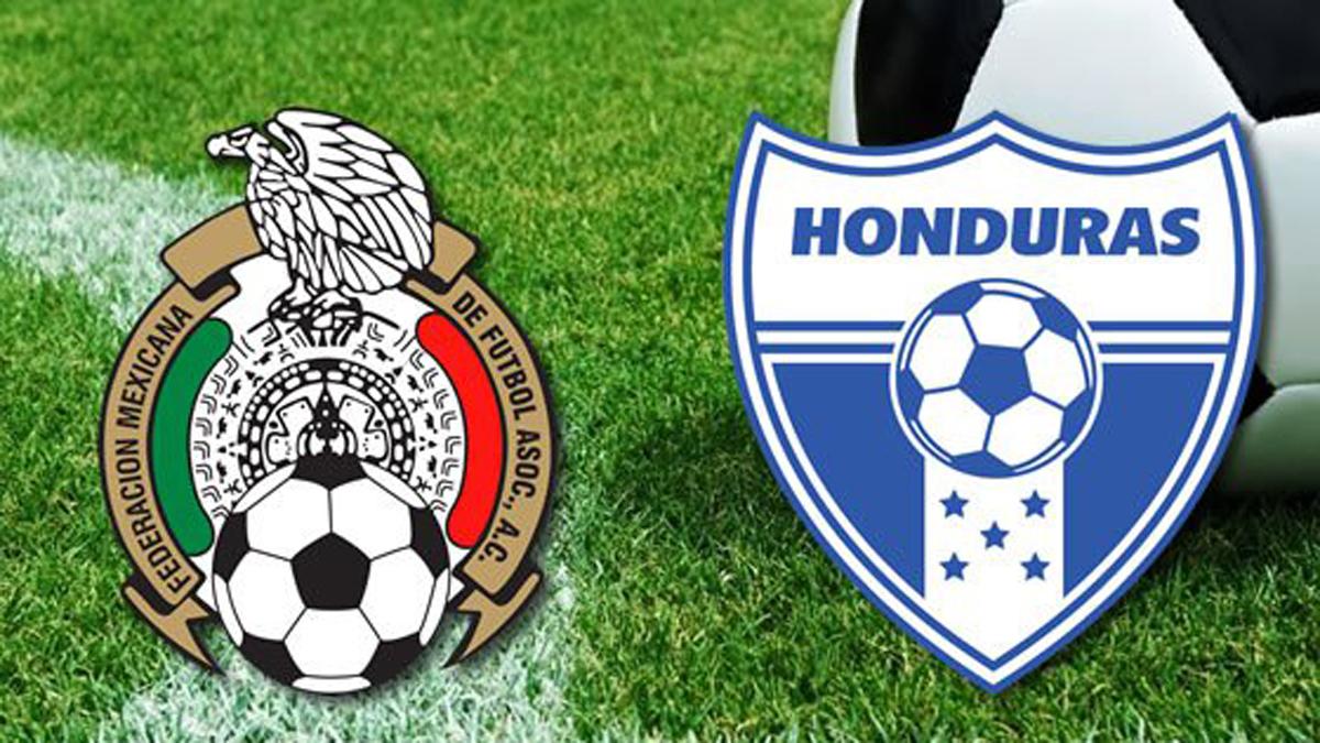 Los escudos de las selecciones de México y Honduras.