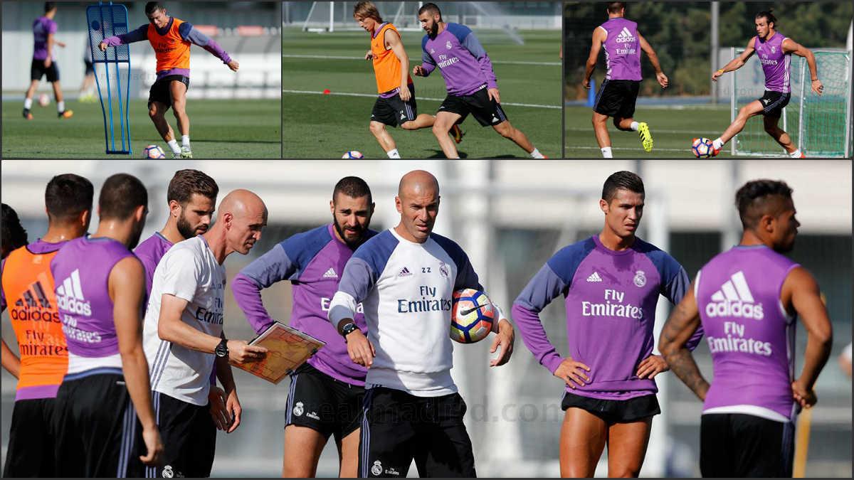 Cristiano, Bale y Benzema entrenaron juntos.