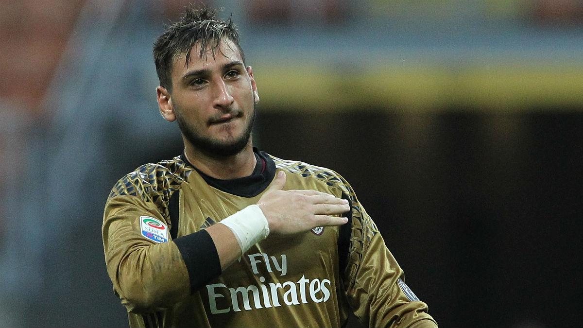 Donnarumma, en un partido con el Milan. (Getty)