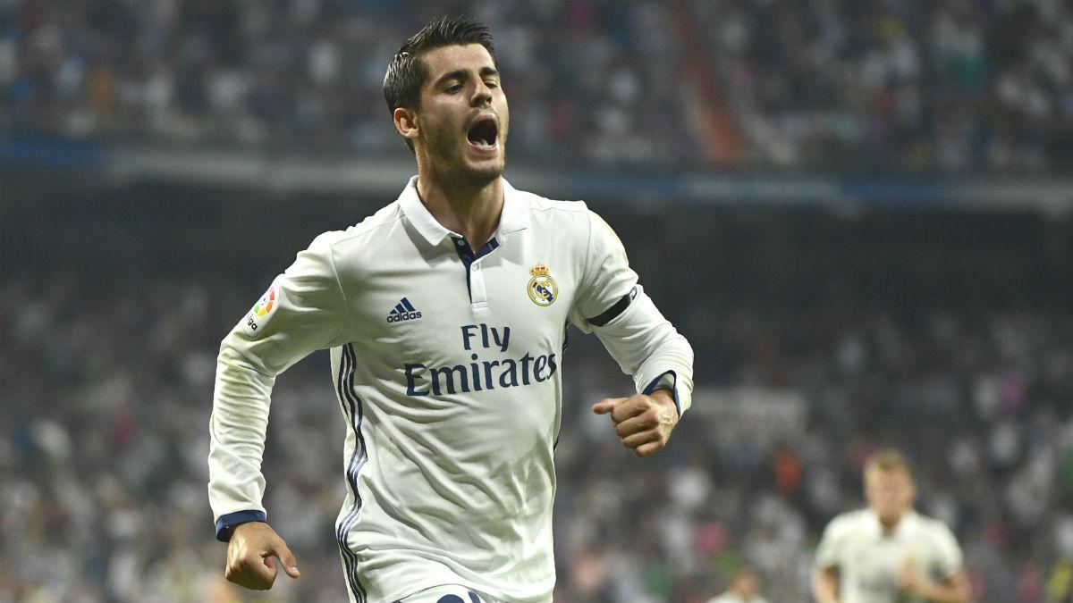 Morata celebra un gol con el Real Madrid. (AFP)