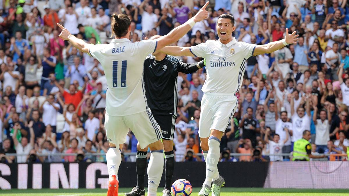 Cristiano celebra junto a Bale su primer gol de la temporada. (Getty)