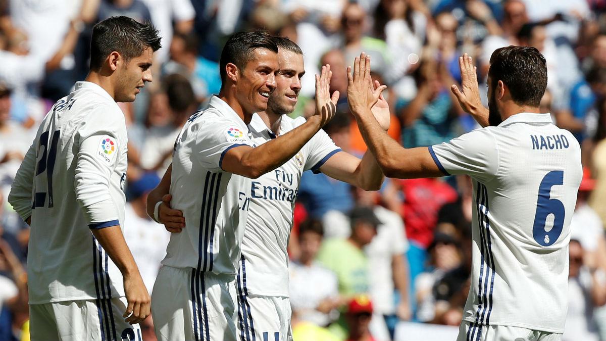 Cristiano Ronaldo celebra su gol contra Osasuna. (Reuters)
