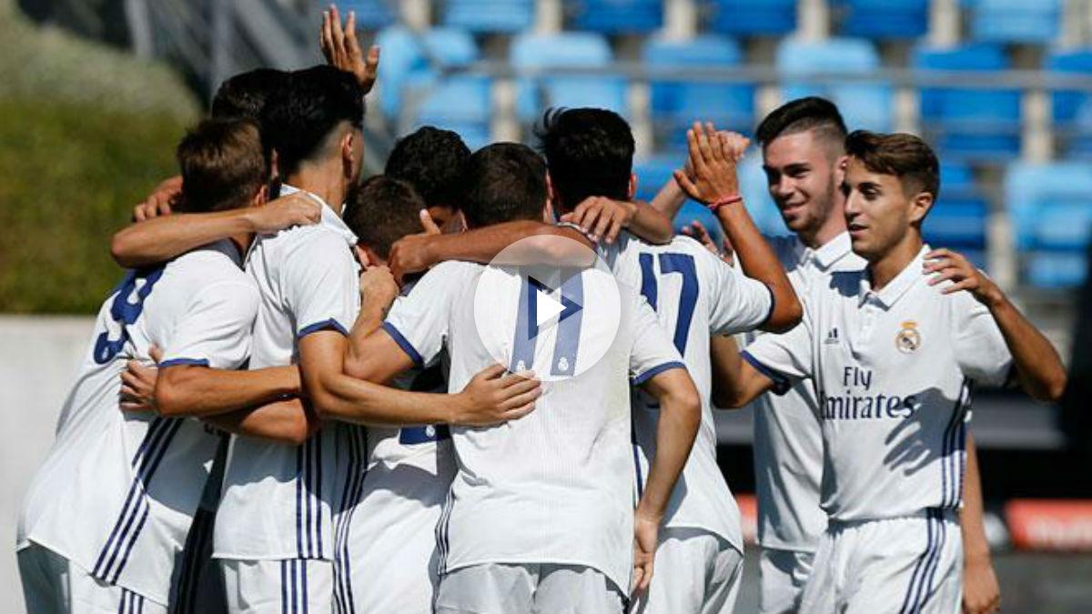 El Juvenil A celebra un gol. (Realmadrid.com)