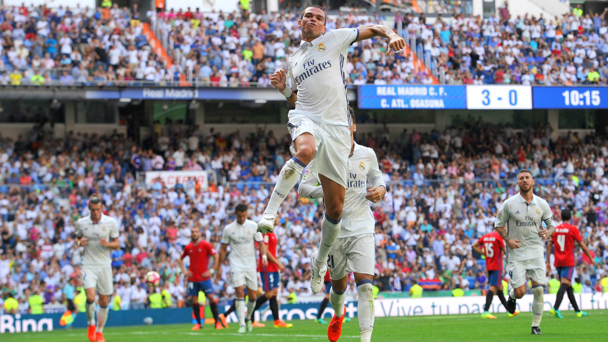 Pepe celebra el 4-0 ante Osasuna. (Getty)