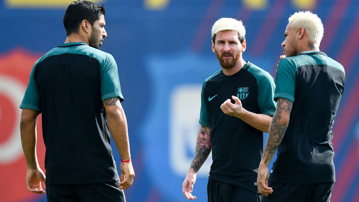 Messi, Suárez y Neymar durante el entrenamiento previo al Barcelona-Celtic. (Getty)