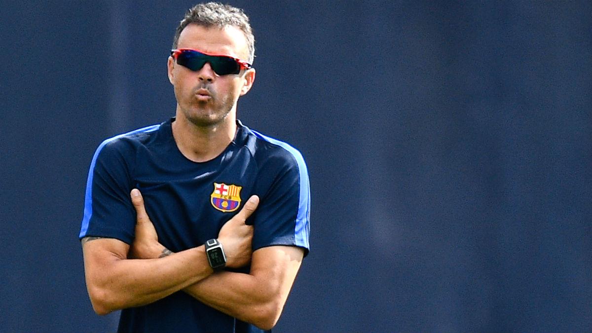 Luis Enrique, en el entrenamiento del Barcelona. (Getty)