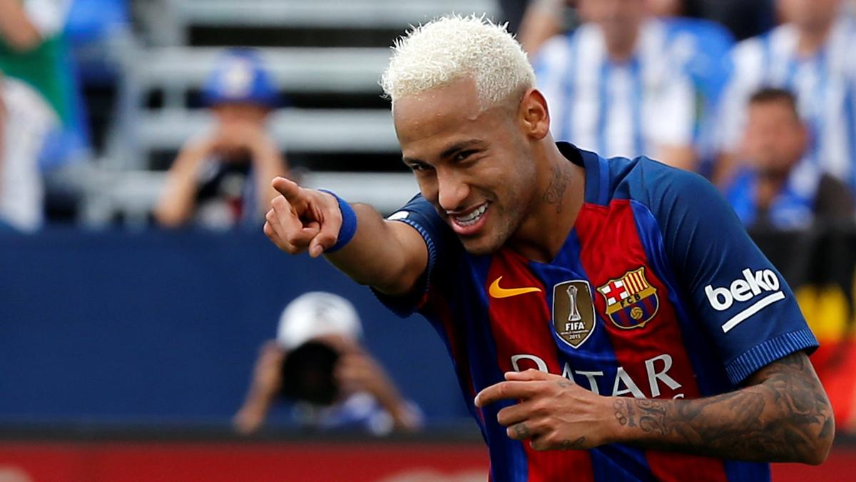 Neymar, celebrando su tanto ante el Leganés.