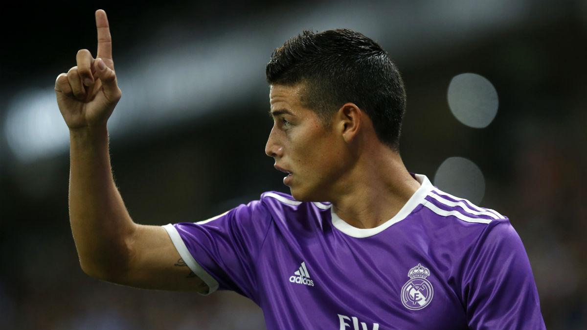 James, en el partido contra el Espanyol. (AFP)