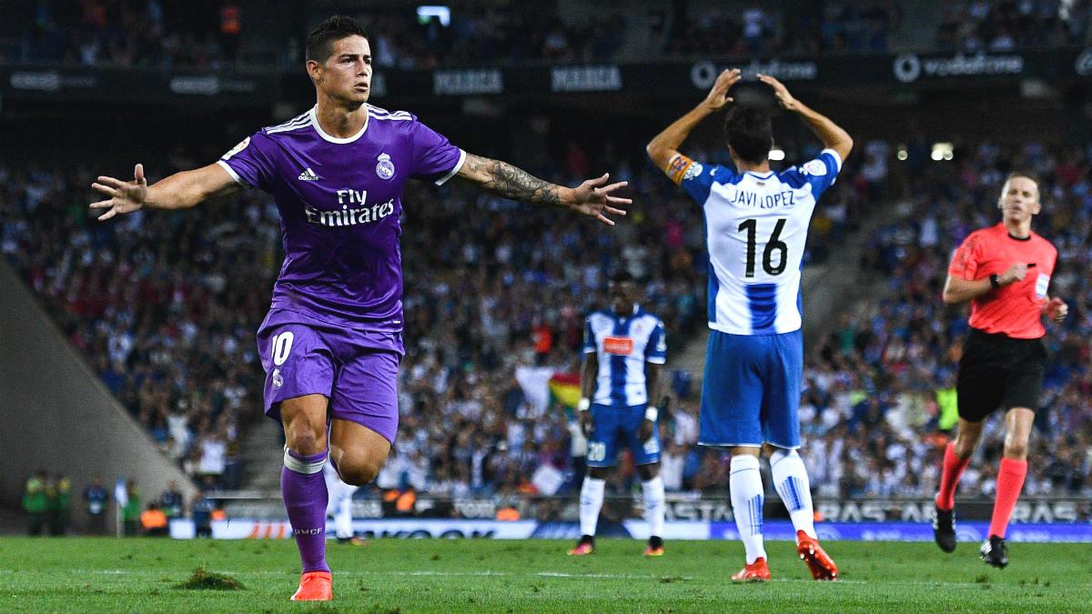 James celebra el 0-1 del Real Madrid en Cornellá. (Getty)