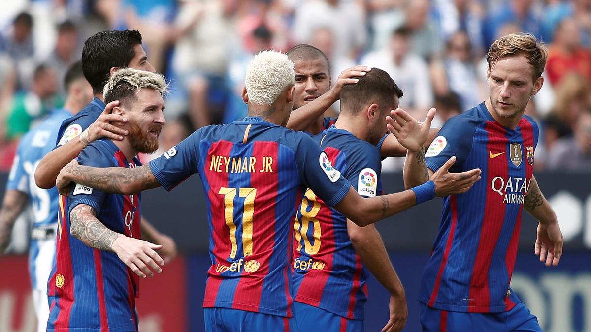 Varios jugadores del Barcelona, celebrando un gol ante el Leganés.
