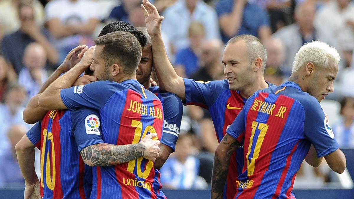 El Barcelona, celebrando un gol ante el Leganés.