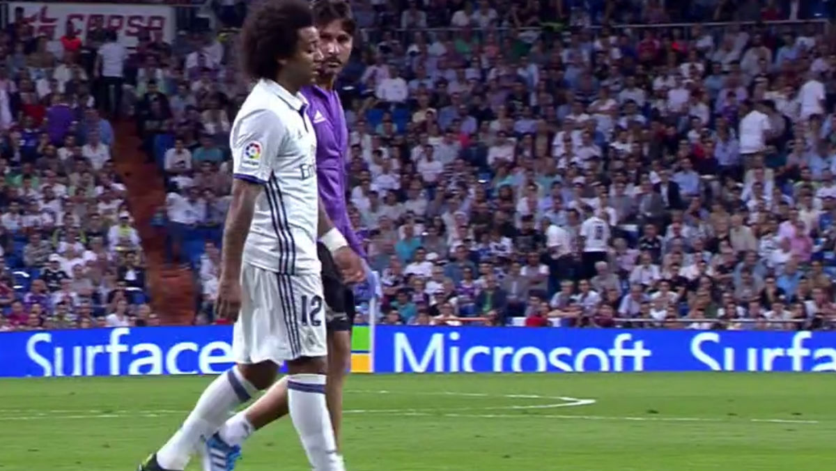 Marcelo se marchó lesionado contra el Villarreal.