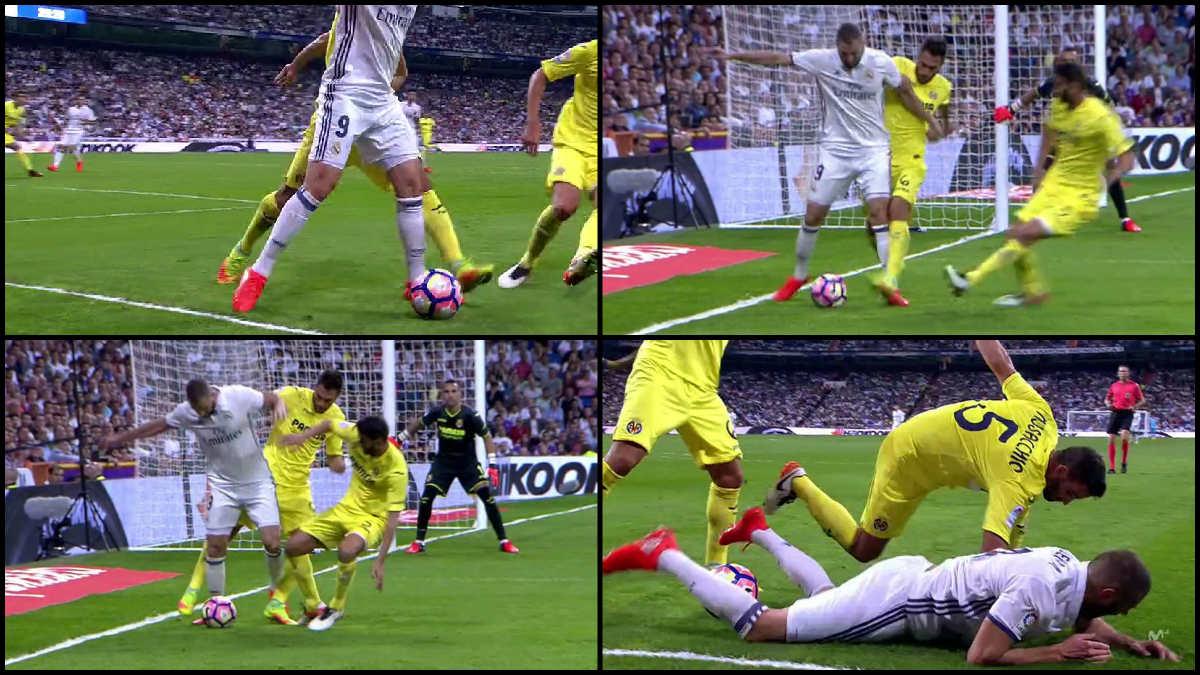 Benzema pidió penalti de Ruiz.