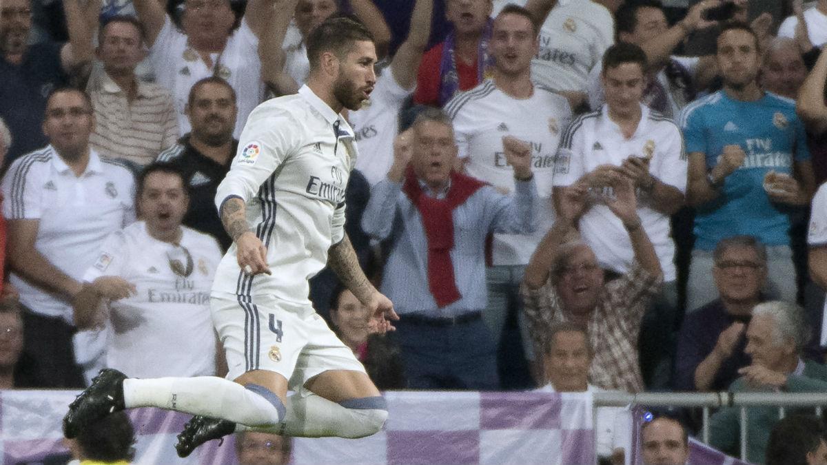Sergio Ramos celebra el gol ante el Villarreal. (AFP)