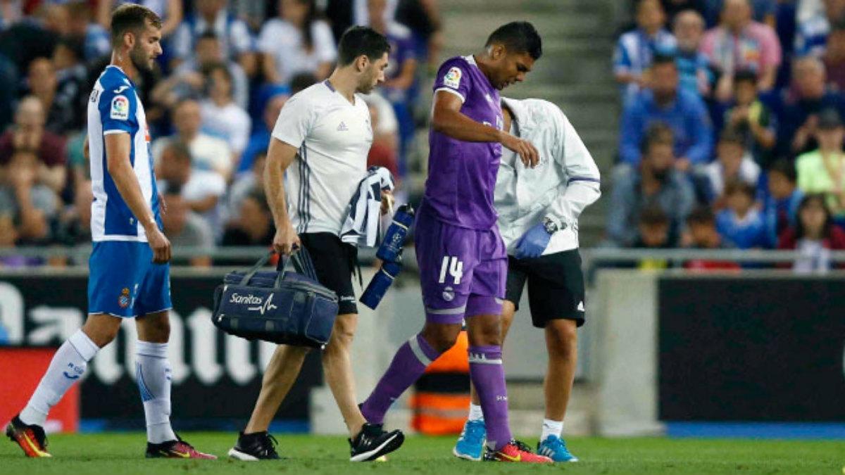 Casemiro se retiró lesionado contra el Espanyol. (realmadrid.com)