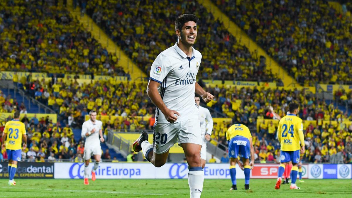 Marco Asensio celebra su gol a Las Palmas. (Getty)