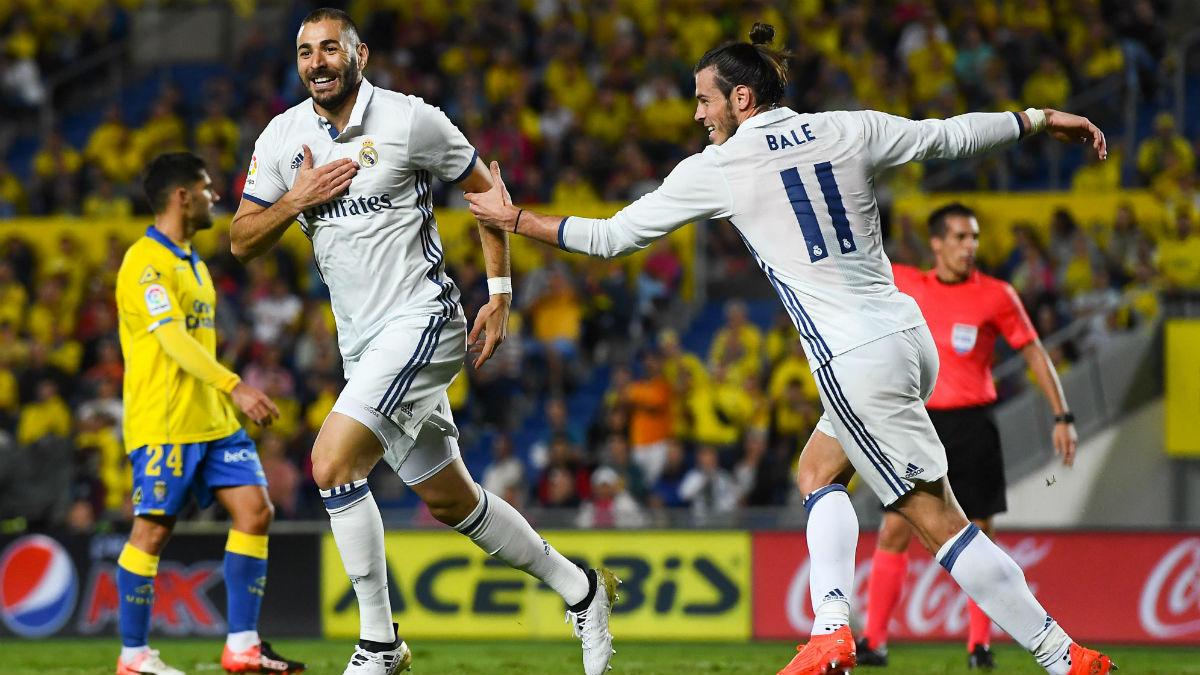 Benzema celebra su gol ante Las Palmas. (Getty)