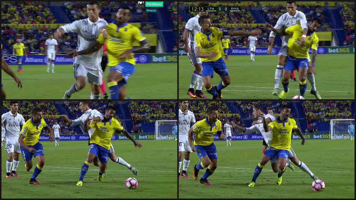Cristiano pidió penalti de Míchel.