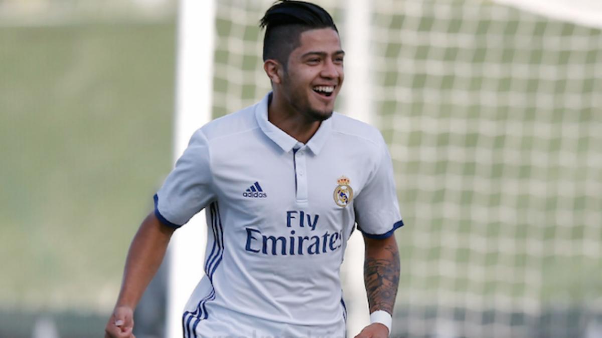 Sergio Díaz celebra un gol en la UEFA Youth League. (Realmadrid.com)