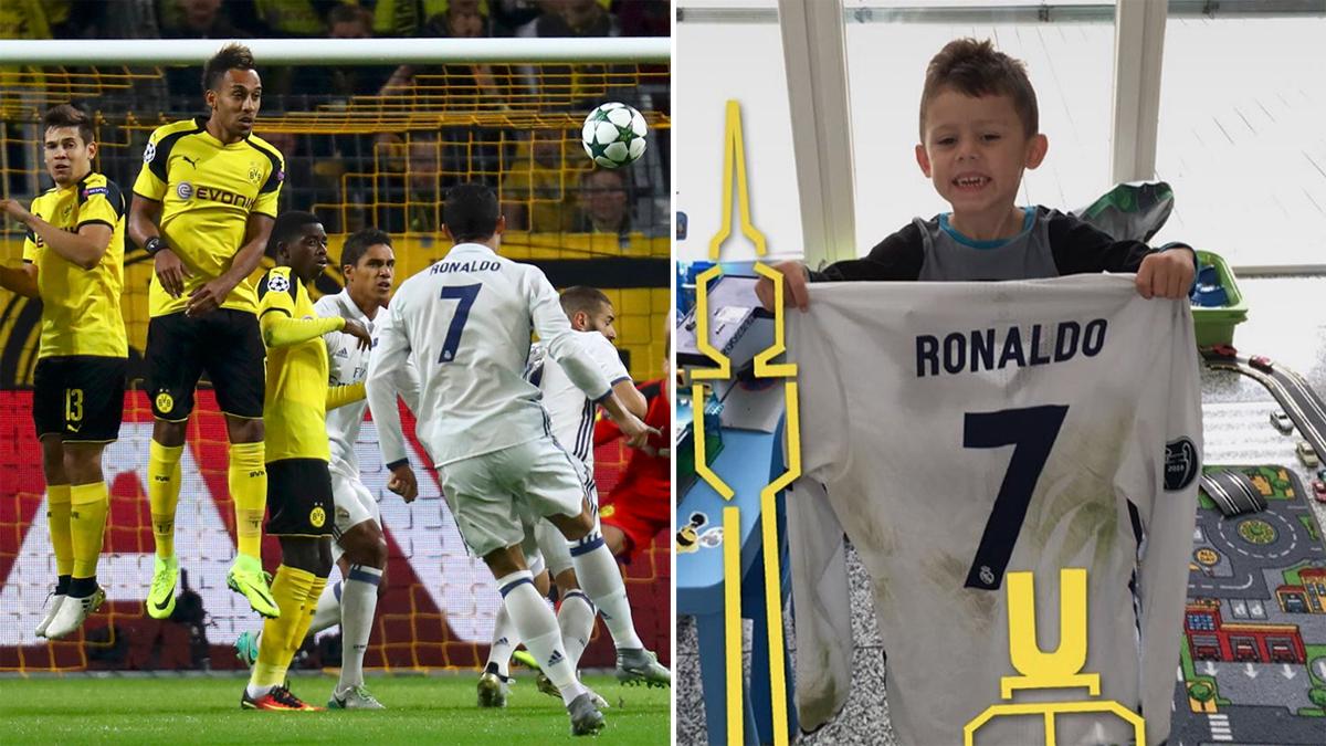 El hijo de Aubameyang, posando feliz con la camiseta de Cristiano.