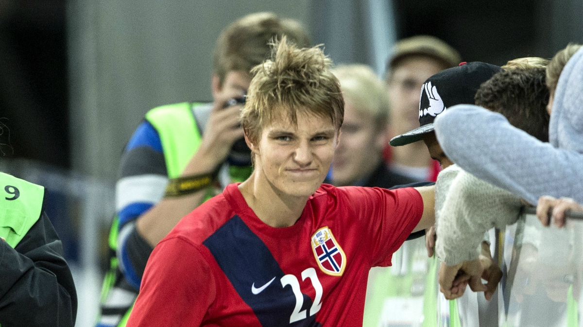 Martin Odegaard, después de un partido con Noruega sub-21. (Getty)