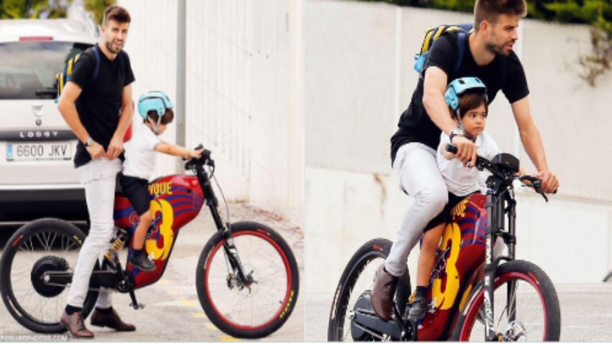 Piqué en bici junto a su hijo Milán.