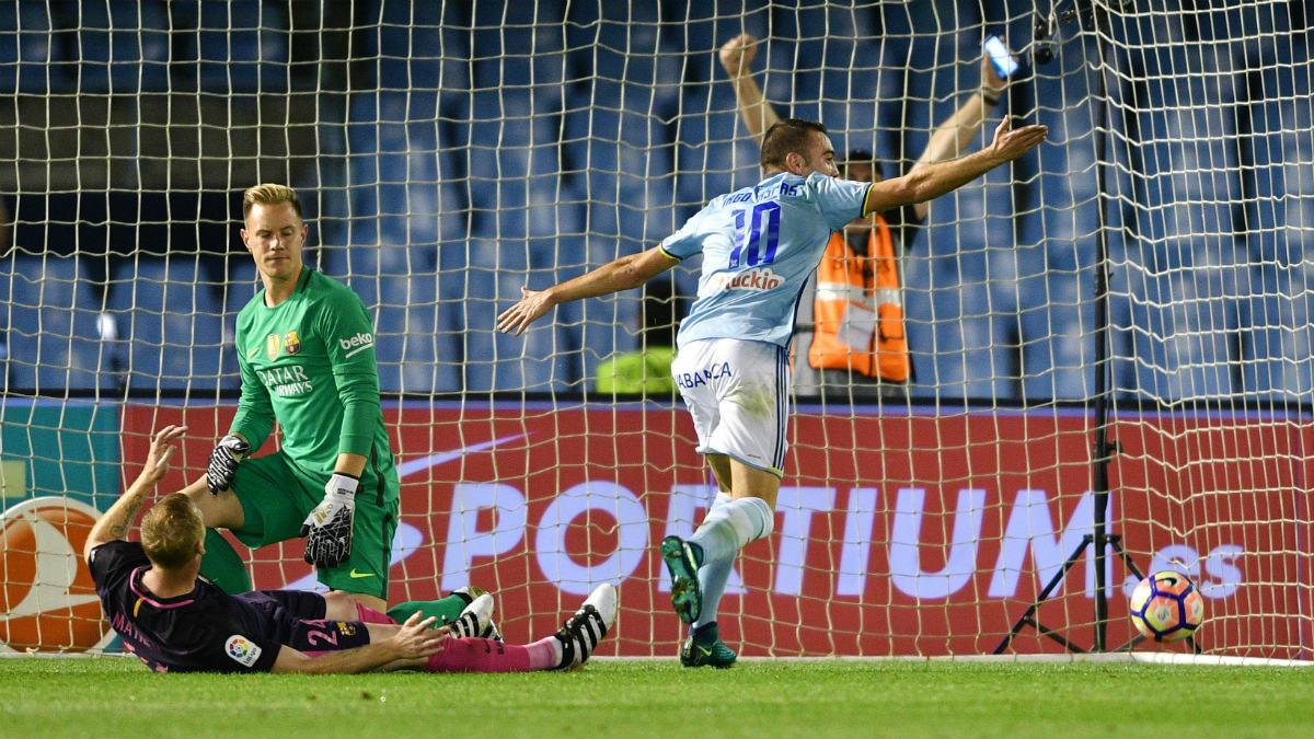 Iago Aspas fue decisivo en la victoria del Celta ante el Barcelona. (Getty)