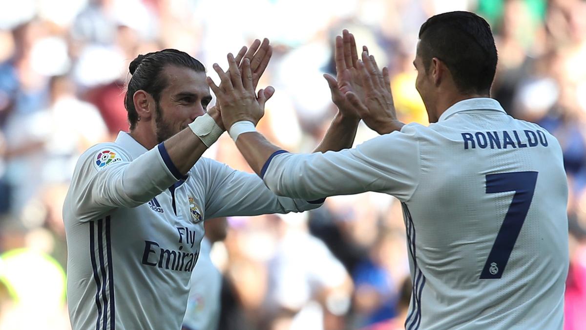Bale y Cristiano, celebrando el gol del galés ante el Eibar.