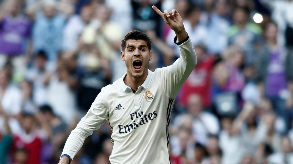 Álvaro Morata, en un partido con el Real Madrid. (Getty)