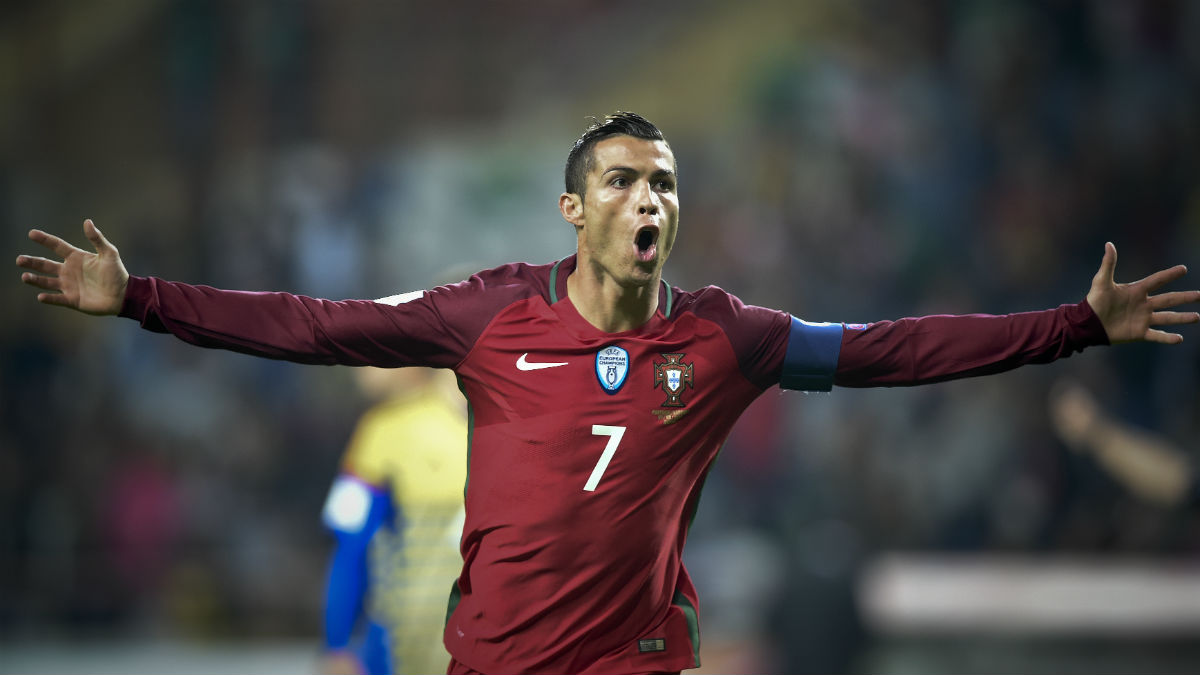 Cristiano Ronaldo celebra uno de los goles ante Andorra. (AFP)