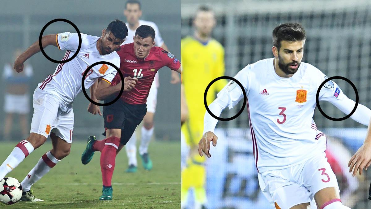 Contraste entre las mangas de la camiseta de la selección y las mangas de Piqué sin bandera.