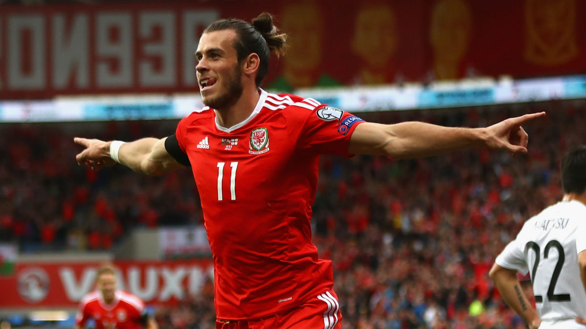 Bale celebra su gol a Georgia. (Getty)