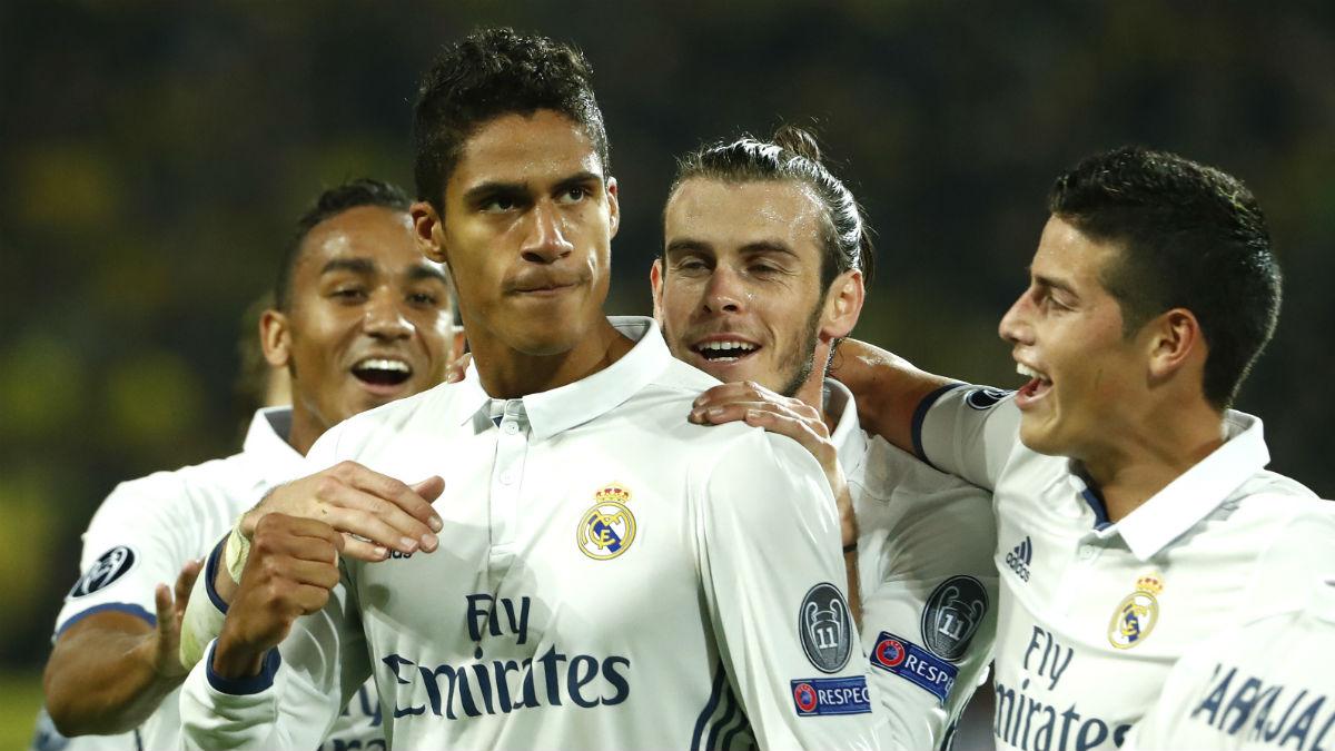 Varane celebra su gol den Dortmund. (AFP)