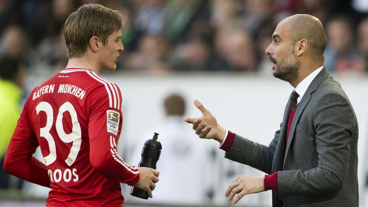 Kroos y Guardiola, en su etapa en el Bayern. (AFP)