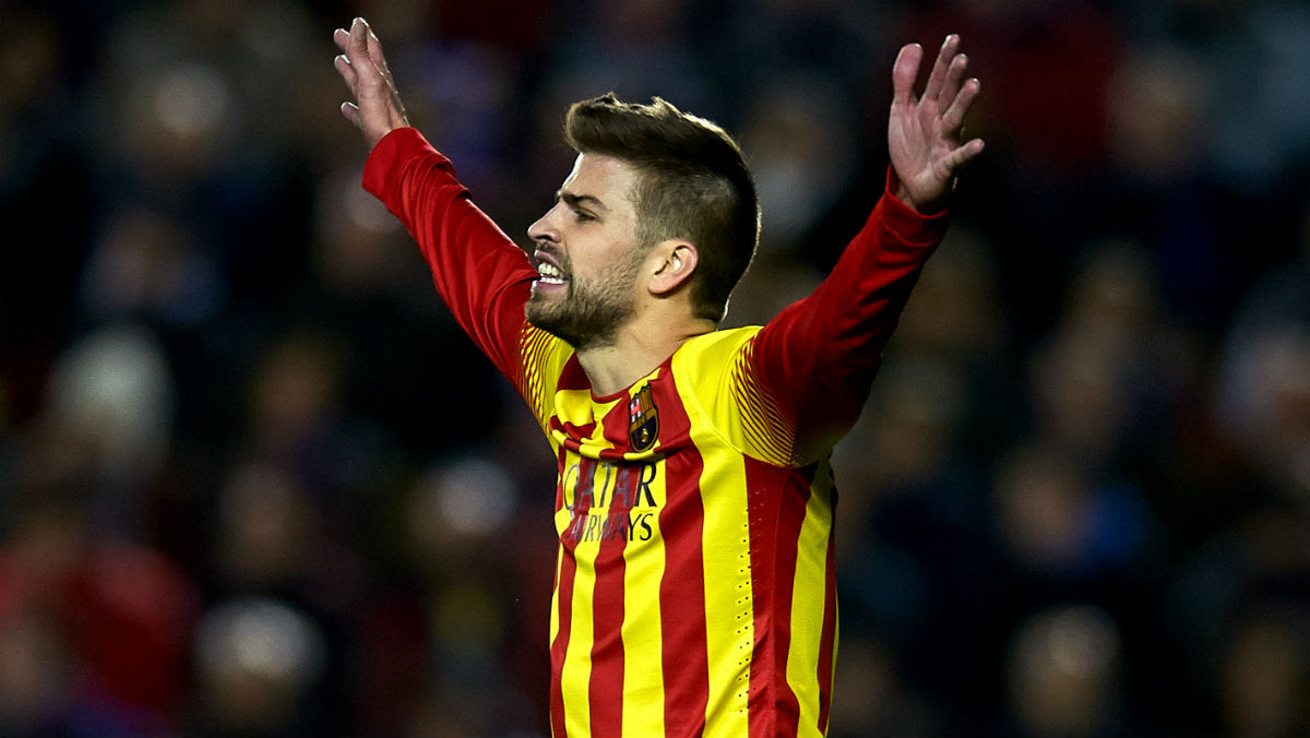 Piqué, en un partido del Barcelona. (Getty)