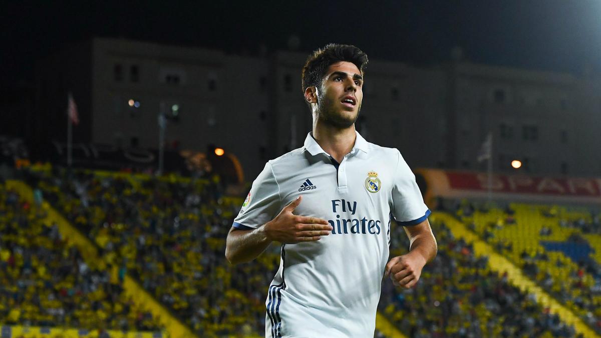 Marco Asensio celebra un gol con el Real Madrid. (Getty)