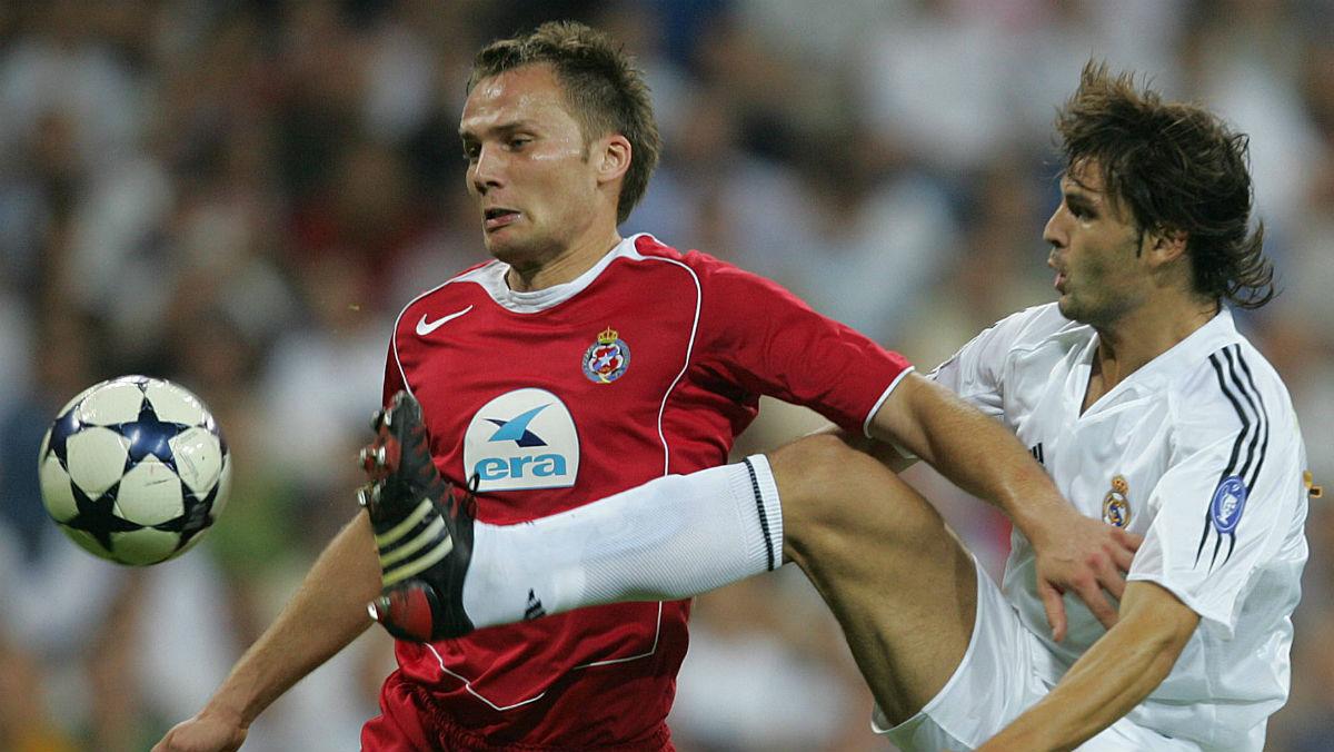 Morientes, en el último choque del Madrid ante un equipo polaco. (Getty)