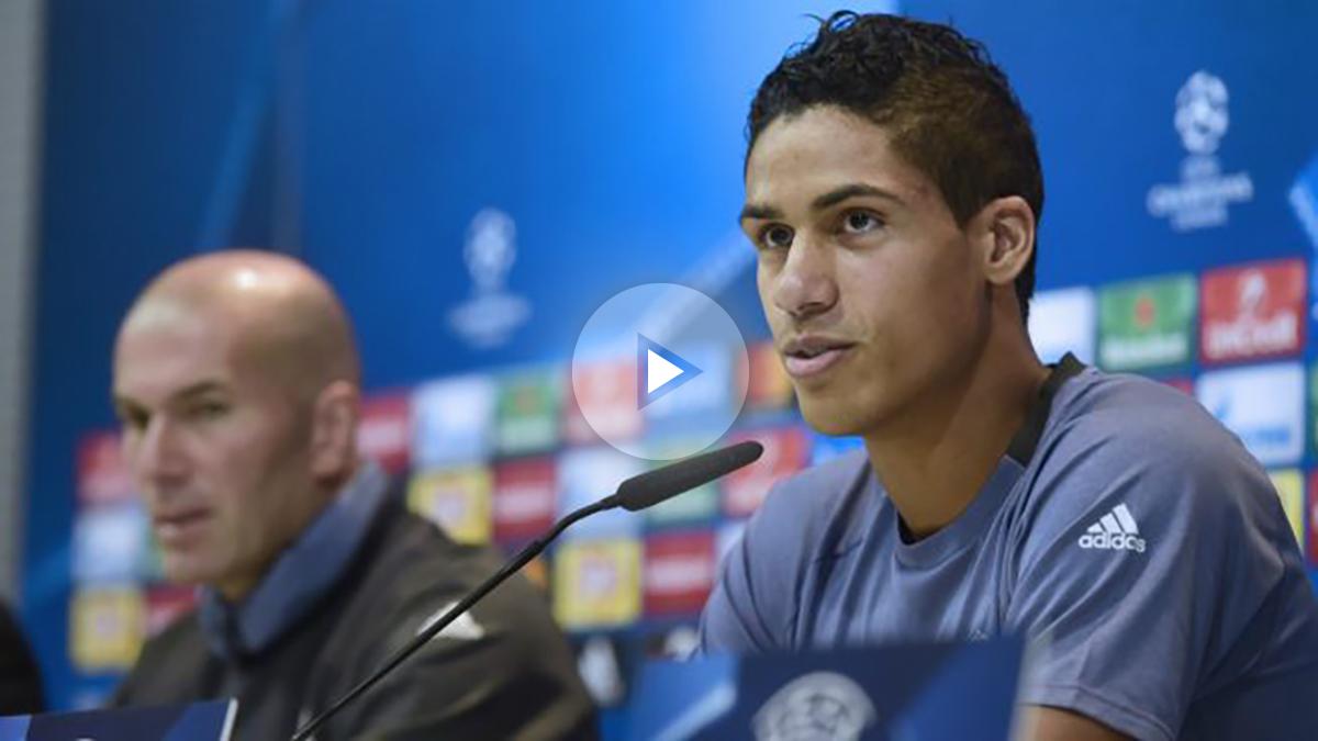 Varane, en la rueda de prensa antes del Legia. (AFP)