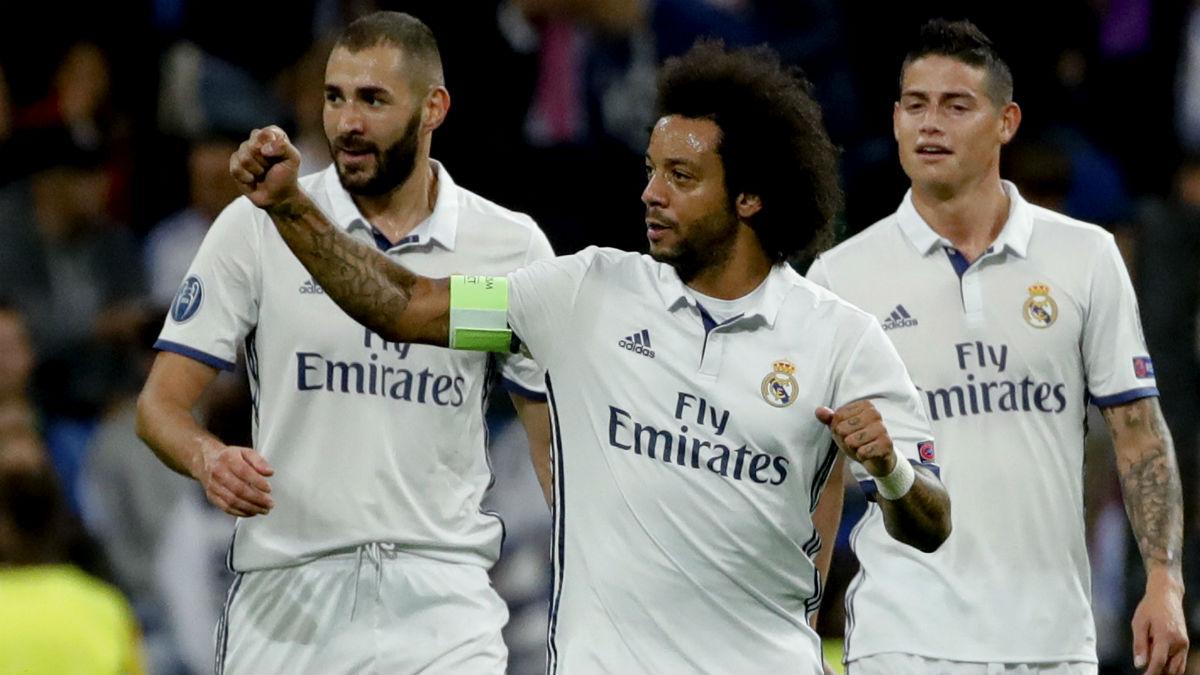 Marcelo celebra uno de los goles del Real Madrid. (EFE)