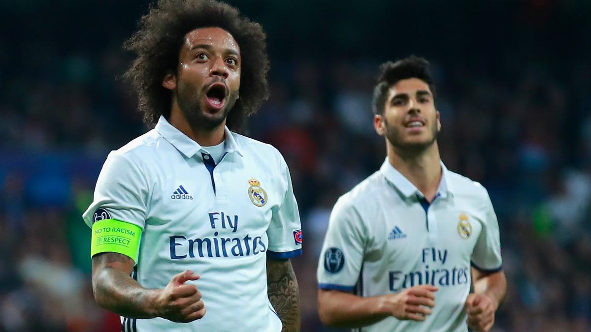 Marcelo celebra un gol ante el Legia. (Getty)