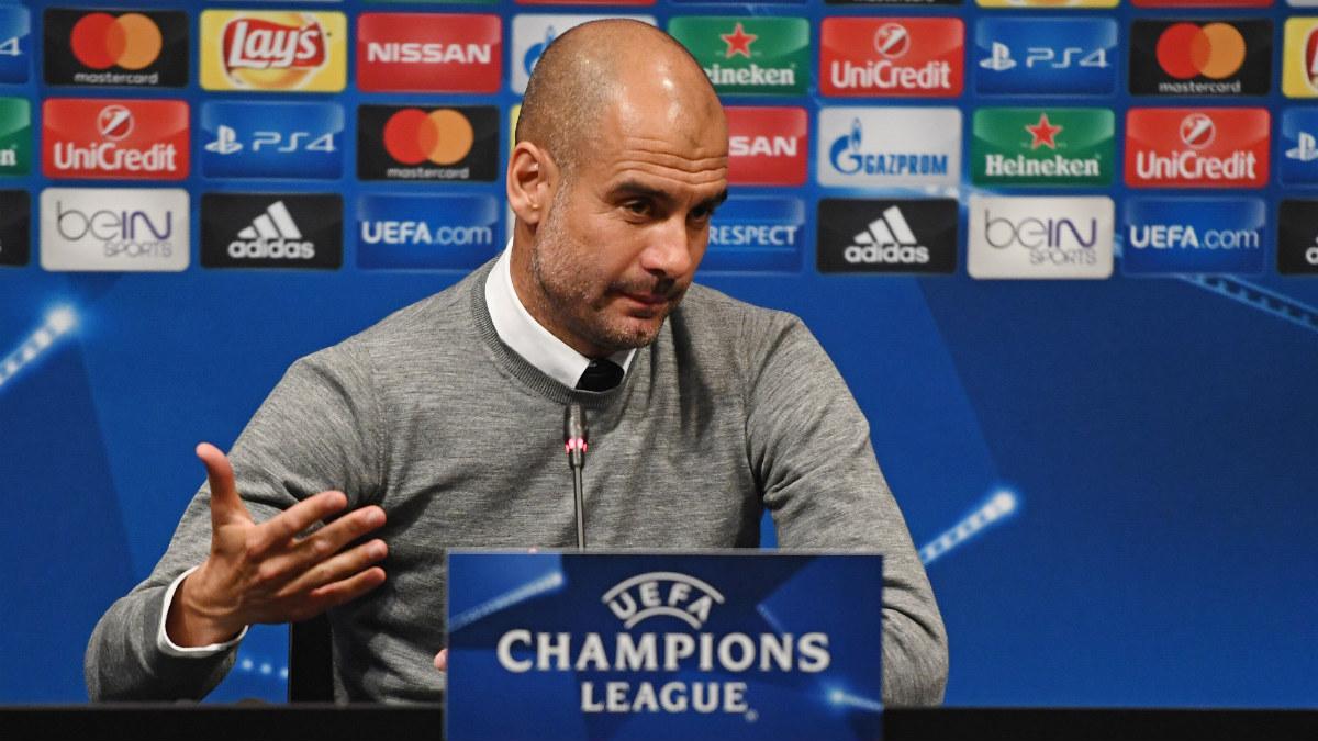 Guardiola compareció en sala de prensa en la previa del Barça-City. (Getty)
