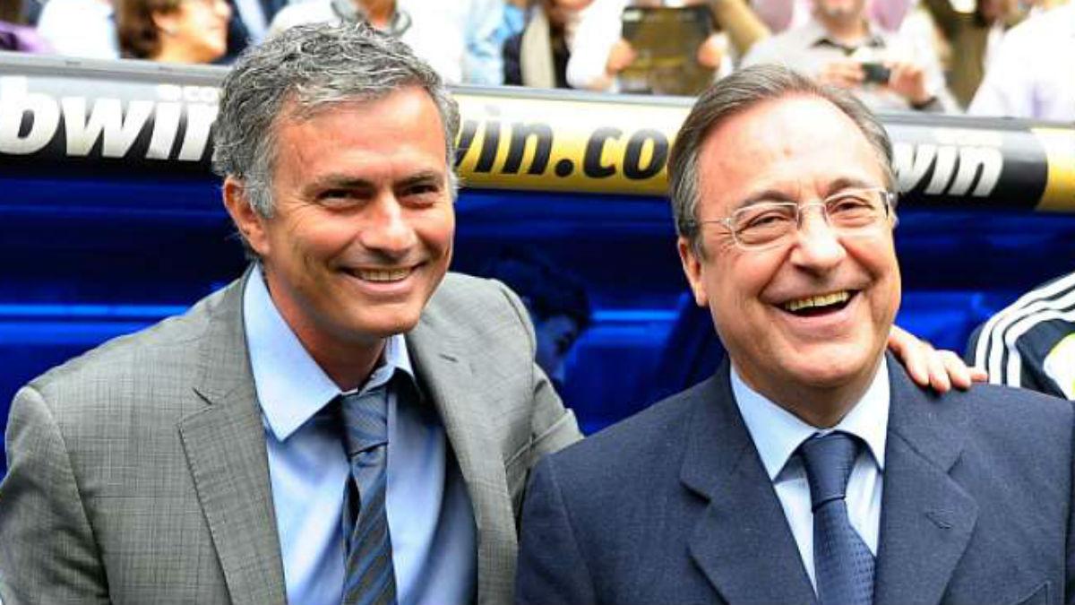 José Mourinho junto a Florentino Pérez.