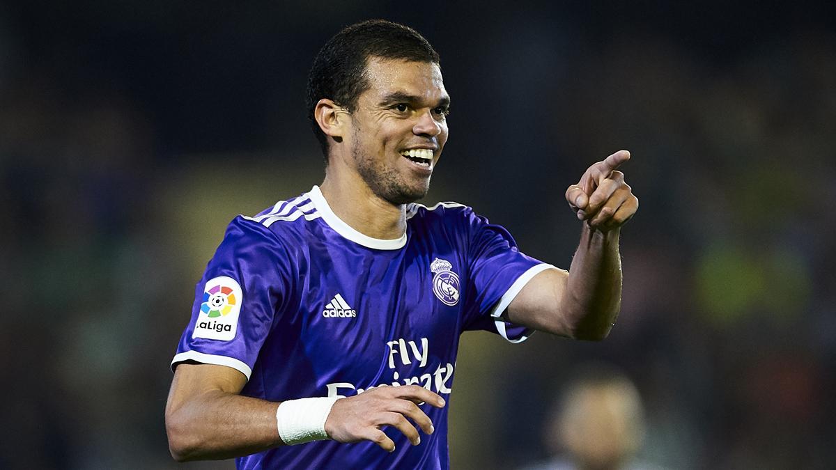 Pepe, celebrando uno de los goles del Real Madrid ante el Betis.