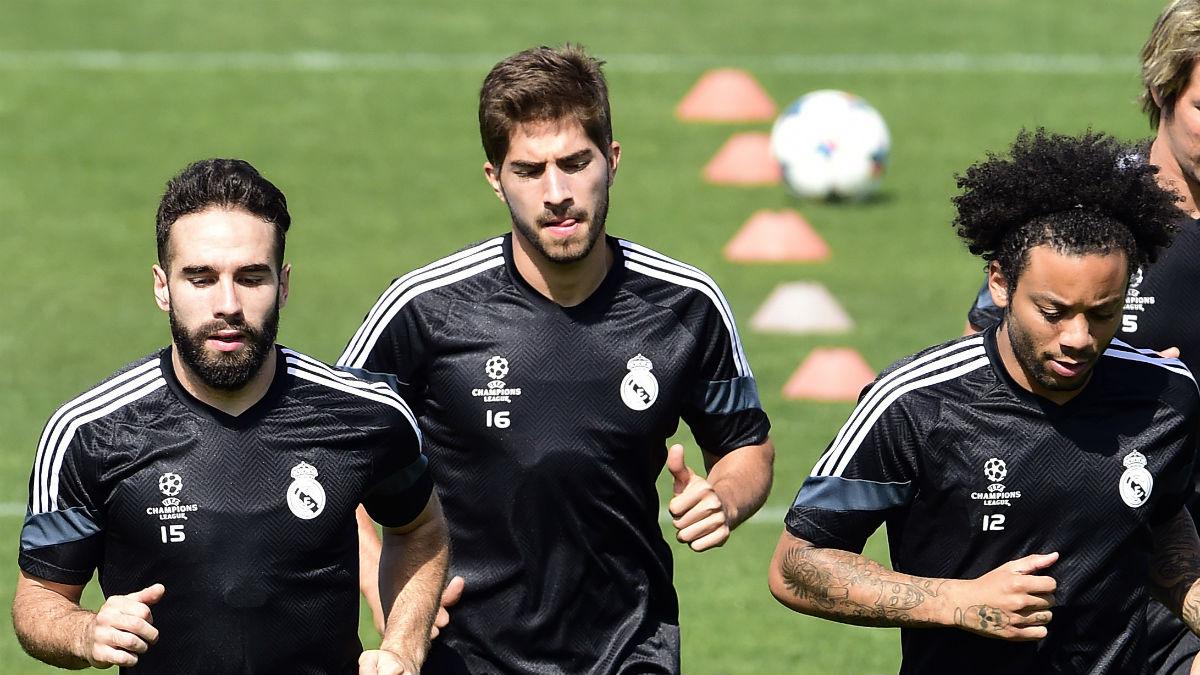Lucas Silva, en un entrenamiento del Real Madrid. (AFP)