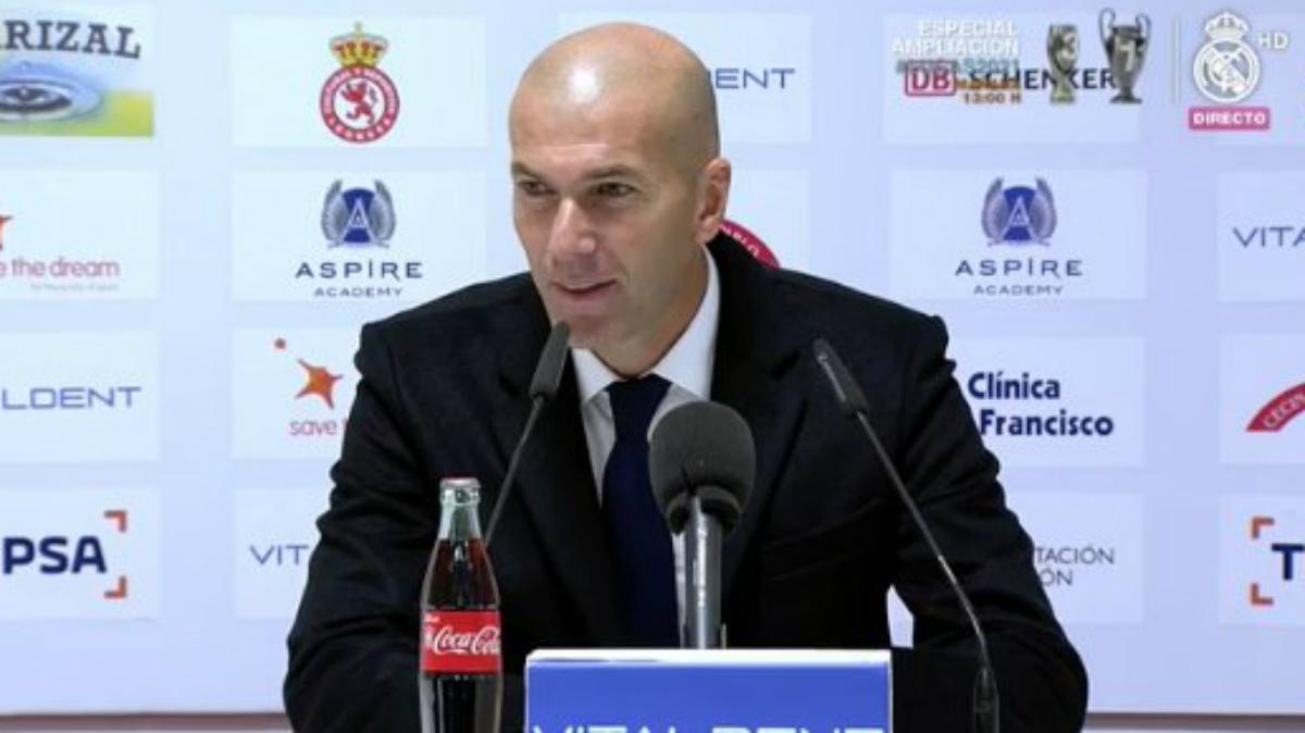 Zidane, durante la rueda de prensa posterior al partido en León.