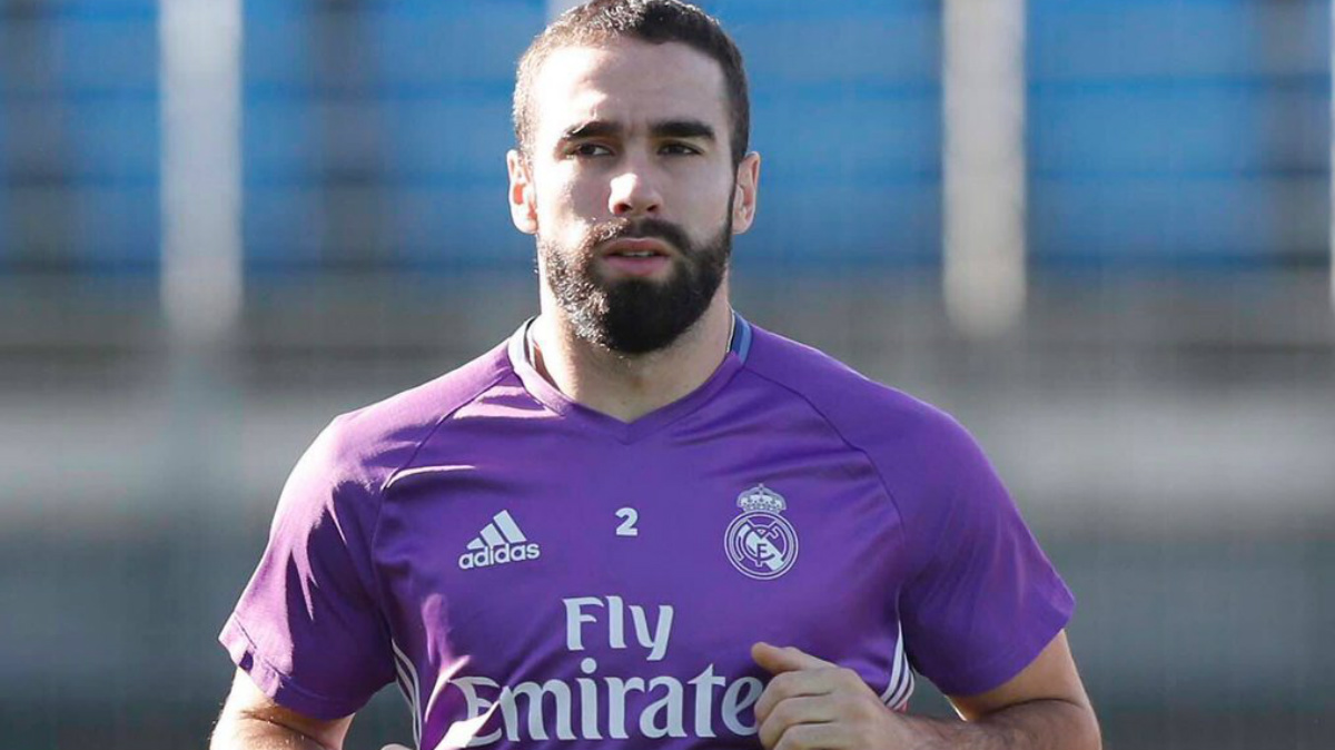 Dani Carvajal durante un entrenamiento.