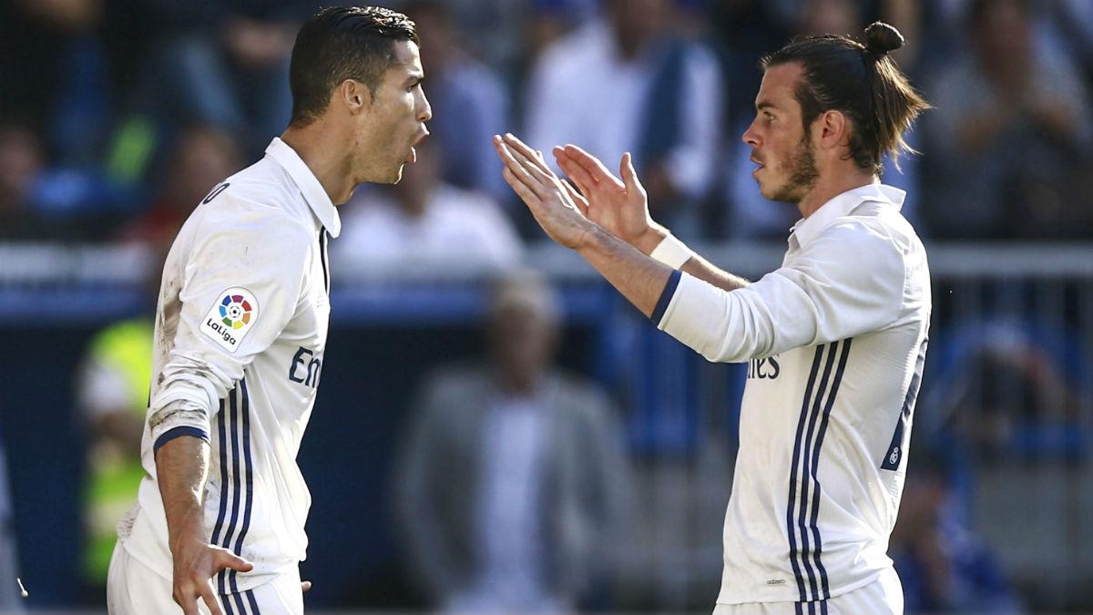 Cristiano Ronaldo y Bale celebran el 1-2. (Getty)