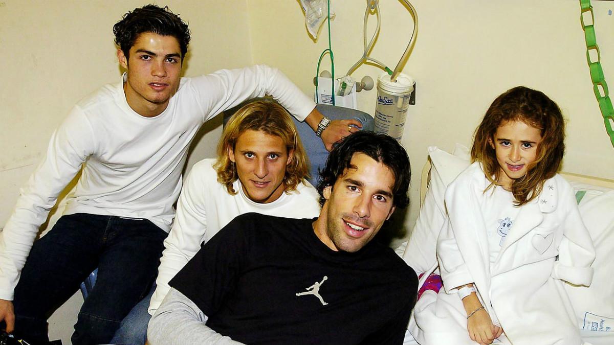 Cristiano, Forlan y Van Nistelrooy, en un evento solidario del Manchester United.